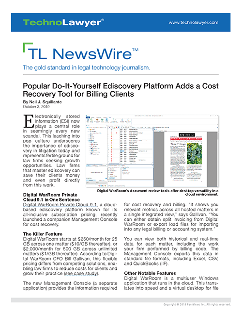 TL NewsWire Preprint - Digital WarRoom Private Cloud 9.1 500x647